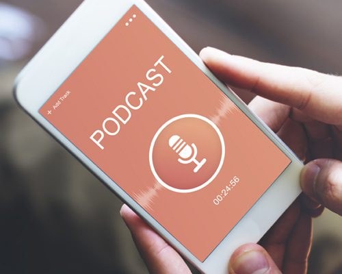 Smartphone playing a podcast