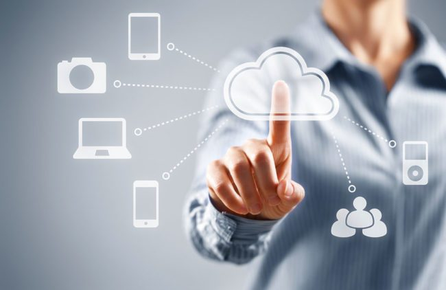 Illustration representing data stored in the cloud, being shared by many people and devices